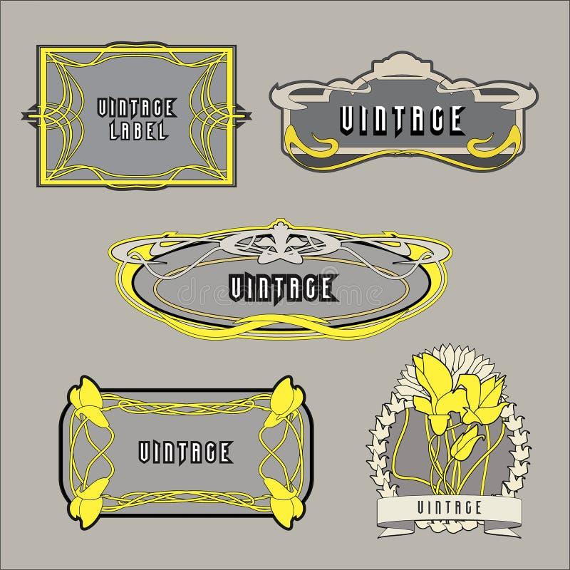 Ajuste das etiquetas do vintage no estilo de Art Nouveau ilustração royalty free