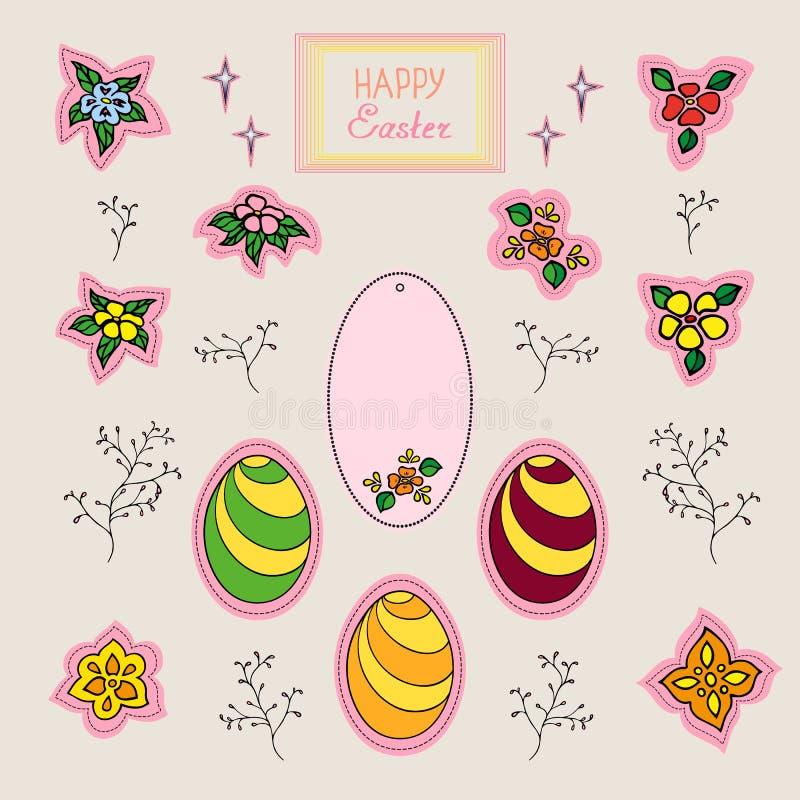 Ajuste das etiquetas e dos ovos da flor no feriado, em etiquetas engraçadas e no ovo festivo para decorar o cartão do feriado d ilustração do vetor