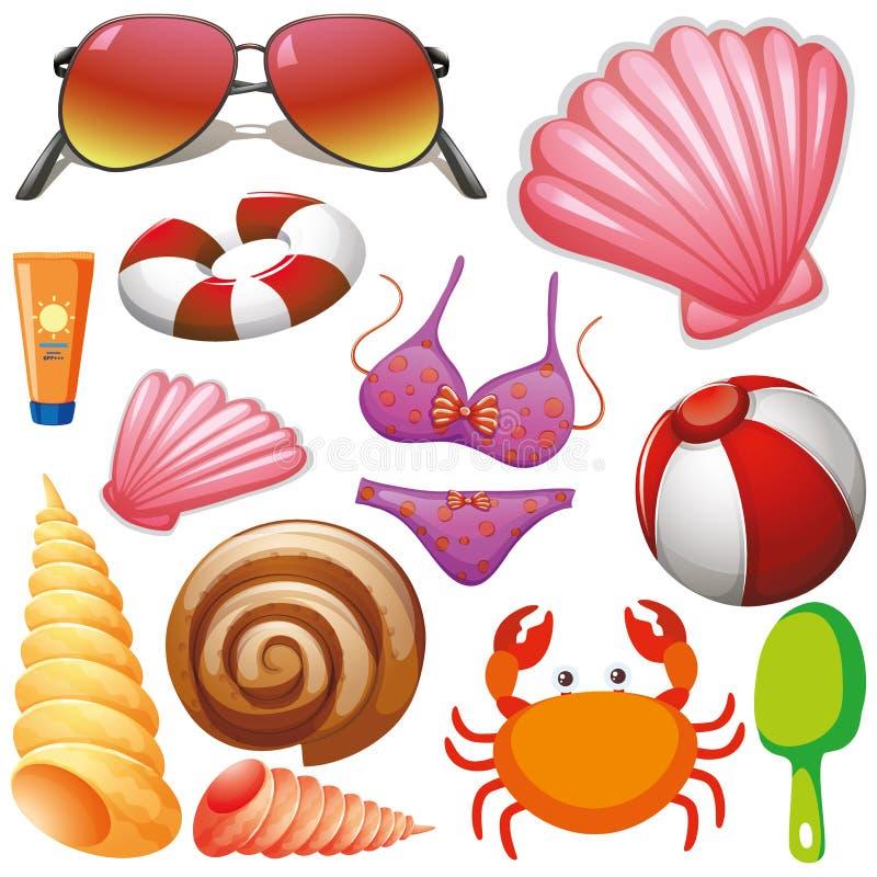 Ajuste das férias de verão isoladas do tema dos objetos ilustração royalty free