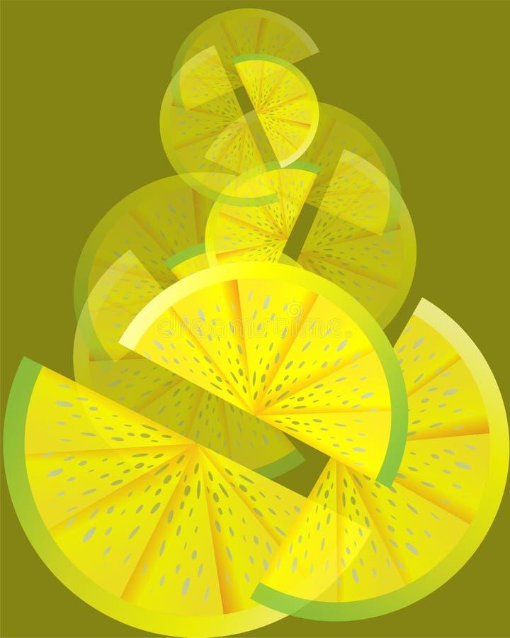 Ajuste das fatias do limão no backgroung verde-oliva imagem de stock
