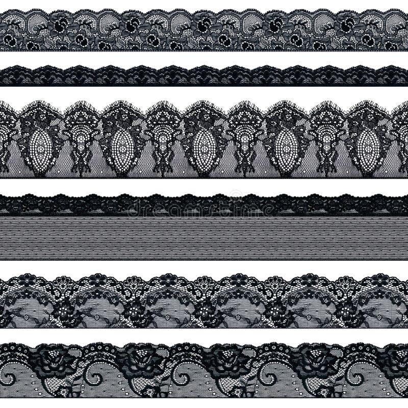 Ajuste das fitas pretas elegantes do laço em um fundo branco Trança do laço ilustração royalty free