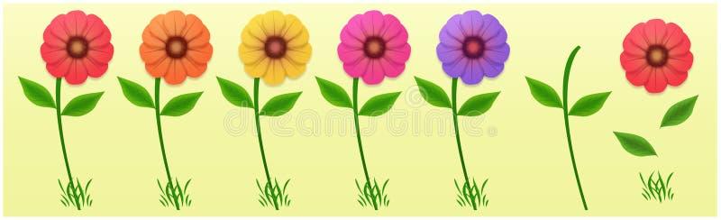 Ajuste das flores coloridos, vermelho, alaranjado, amarelo, cor-de-rosa, roxas Peças da flor a montar Flores com pétalas, folhas, ilustração stock