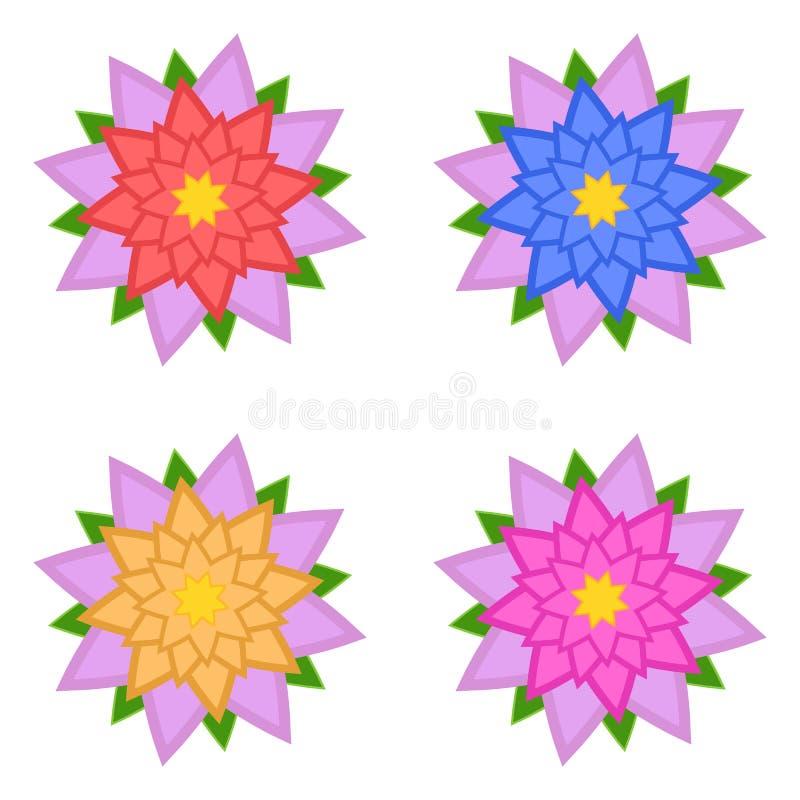 Ajuste das flores vermelhas, azuis, amarelas, cor-de-rosa com as pétalas cor-de-rosa, isoladas no fundo branco Quatro op??es apro ilustração stock