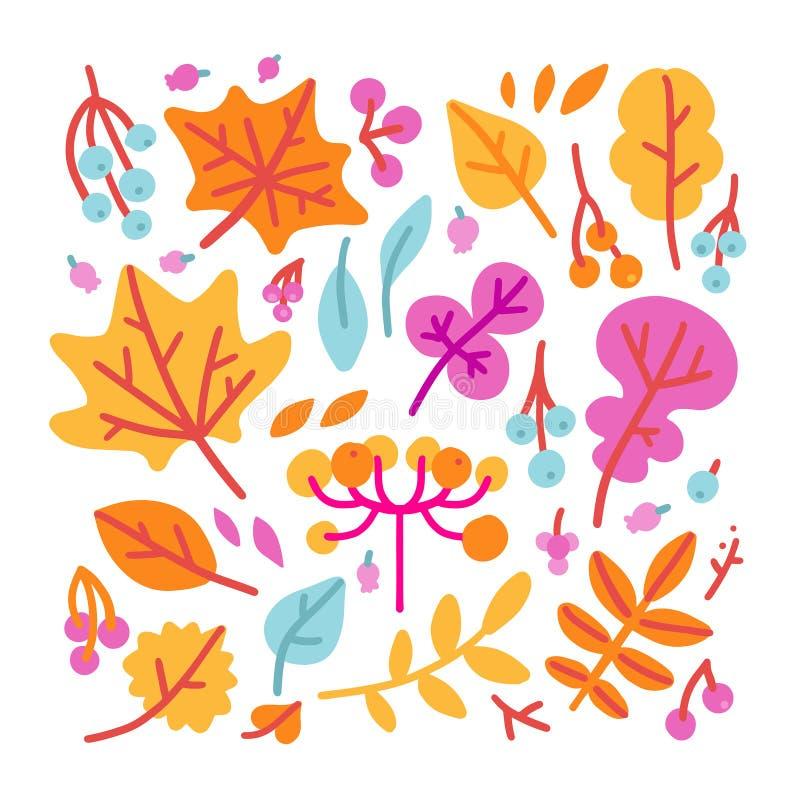 Ajuste das folhas e das bagas coloridas brilhantes de outono Isolado no fundo branco Estilo liso tirado dos desenhos animados mão ilustração do vetor