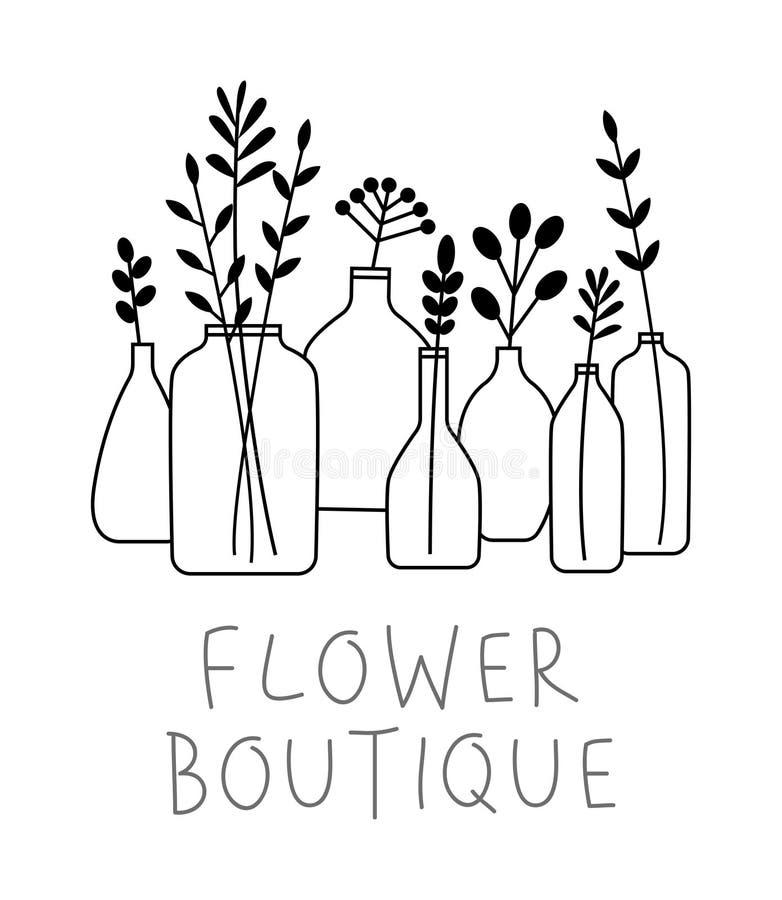 Ajuste das folhas, das flores e dos ramos em umas garrafas e em uns vasos isolados em branco - conceito do estúdio do florista ilustração royalty free