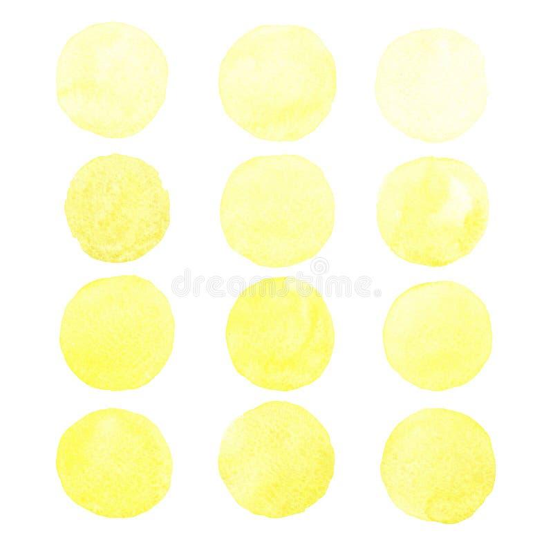 Ajuste das formas de círculo pintados à mão da aquarela amarela, manchas, círculos, gotas isoladas no fundo branco imagens de stock