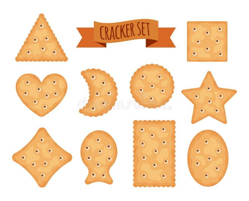 Ajuste das formas diferentes das microplaquetas do biscoito isoladas no fundo branco Cookies do biscoito para o café da manhã, pe ilustração stock