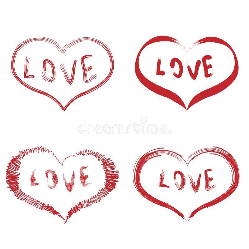 Ajuste das formas do coração com o texto do amor no centro isolado no fundo branco Projeto tirado m?o Ilustra??o do vetor ilustração do vetor