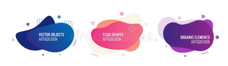 Ajuste das formas fluidas coloridas e glowy na moda Elementos geométricos do molde do vetor para seus próprios projetos imagens de stock