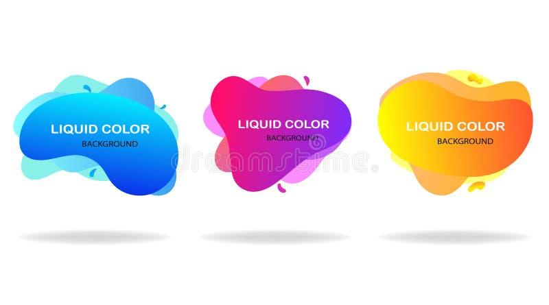 Ajuste das formas líquidas geométricas dinâmicas Onda abstrata do projeto moderno para o Web site, meios sociais ou apps móveis V ilustração stock