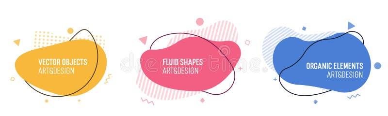 Ajuste das formas orgânicas modernas Elementos na moda do vetor fluido Gráficos do molde com as caixas líquidas e os quadros geom ilustração stock