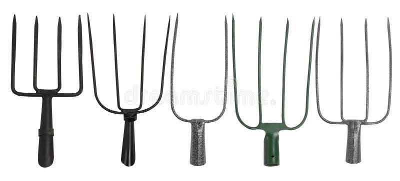 Ajuste das forquilhas de jardinagem isoladas em um fundo branco fotografia de stock