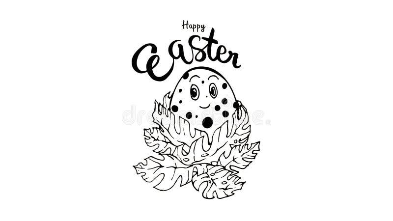 Ajuste das frases escritas da Páscoa Moldes felizes do texto do cartão da Páscoa com os ovos isolados no fundo branco ajuste - o  ilustração stock
