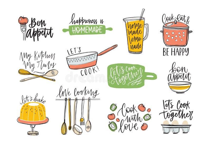 Ajuste das frases escrito à mão com fonte cursivo e decorado com fontes e produtos alimentares da cozinha Pacote de rotulação ilustração stock