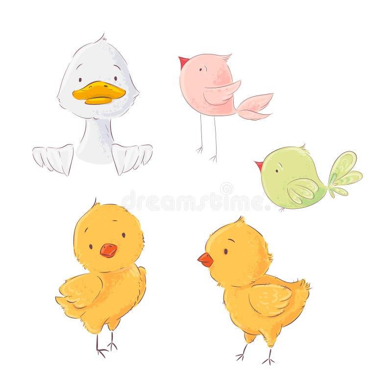 Ajuste das galinhas bonitos das aves domésticas e dos patinhos, ilustração do vetor no estilo dos desenhos animados ilustração royalty free