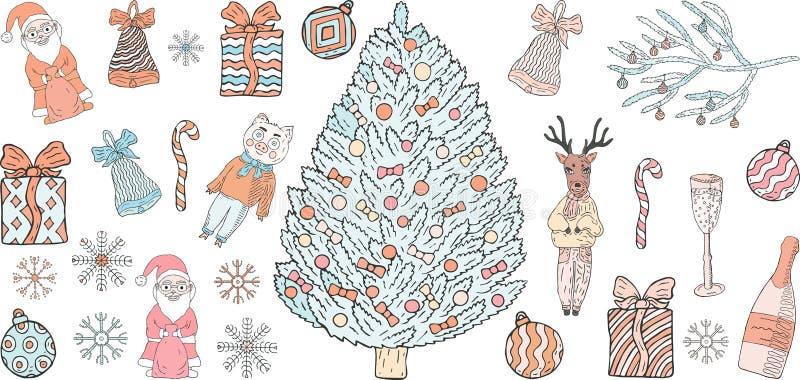 Ajuste das garatujas do ano novo e do Natal em um fundo branco ilustração do vetor