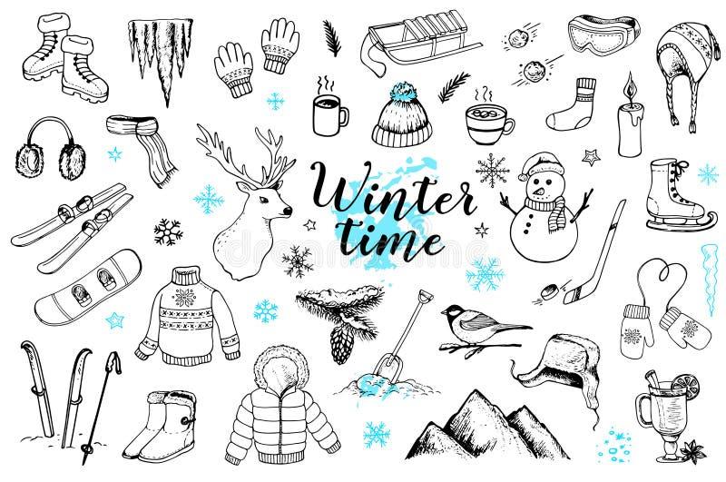 Ajuste das garatujas tiradas mão do inverno ilustração stock