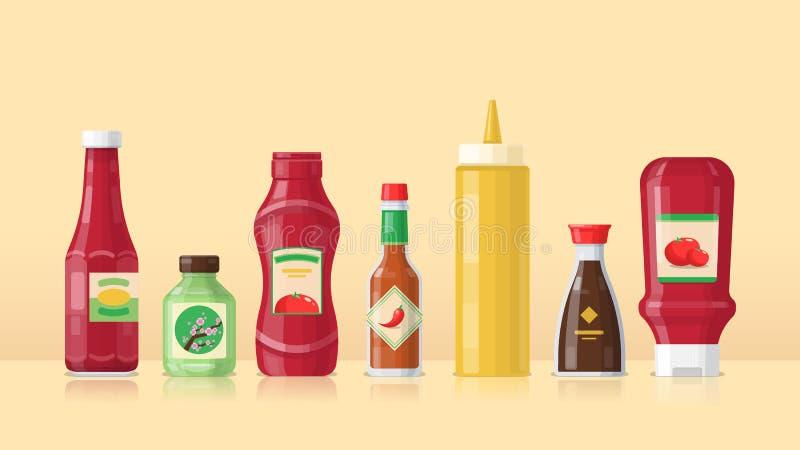 Ajuste das garrafas diferentes com molhos imagens de stock royalty free