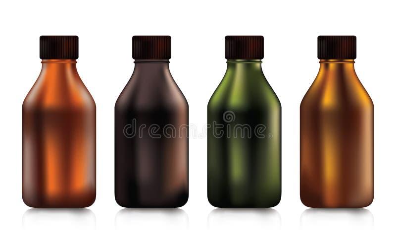 Ajuste das garrafas plásticas no tamanho pequeno para a bebida do alimento ou a medicina e o cosmético em um fundo branco ilustração royalty free