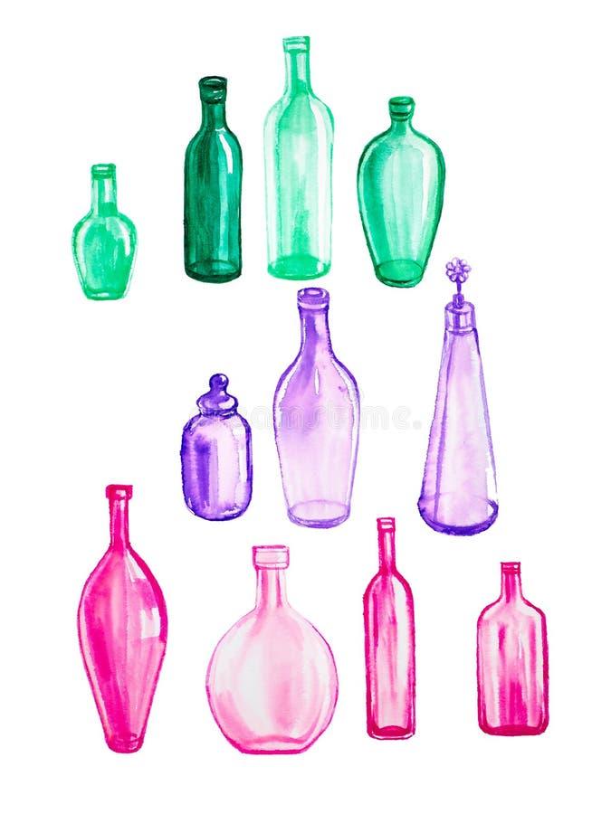 Ajuste das garrafas vazias diferentes da cor Ilustração da aquarela isolada no fundo branco ilustração do vetor
