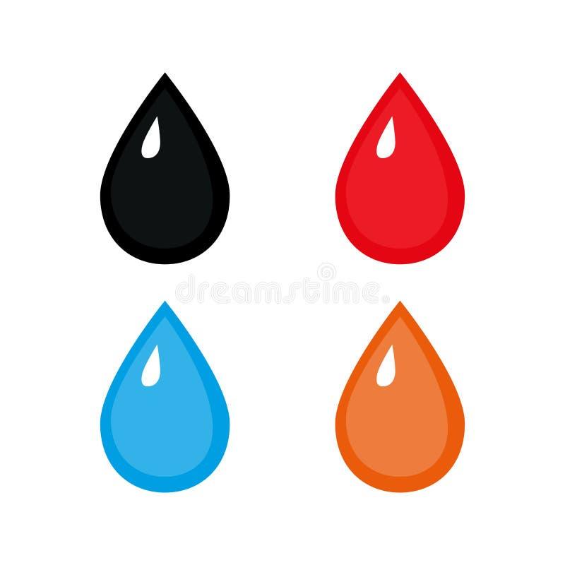 Ajuste das gotas coloridas Ilustração do vetor no baclground branco ilustração do vetor