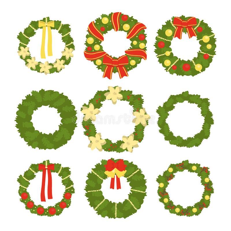 Ajuste das grinaldas do Natal isoladas no fundo branco Ilustra??o do vetor ilustração stock