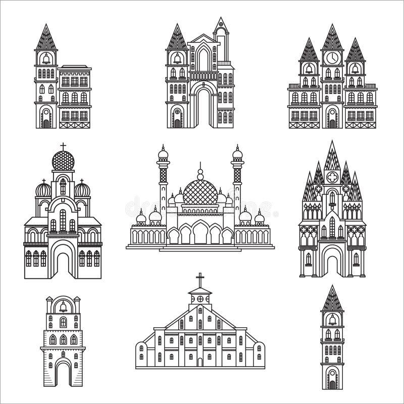 Ajuste das igrejas diferentes da religião e da arquitetura do estilo ilustração do vetor