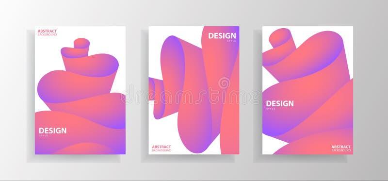 Ajuste das ilustrações abstratas coloridas modernas da onda com inclinação no fundo branco Projeto da ilustra??o do vetor ilustração stock