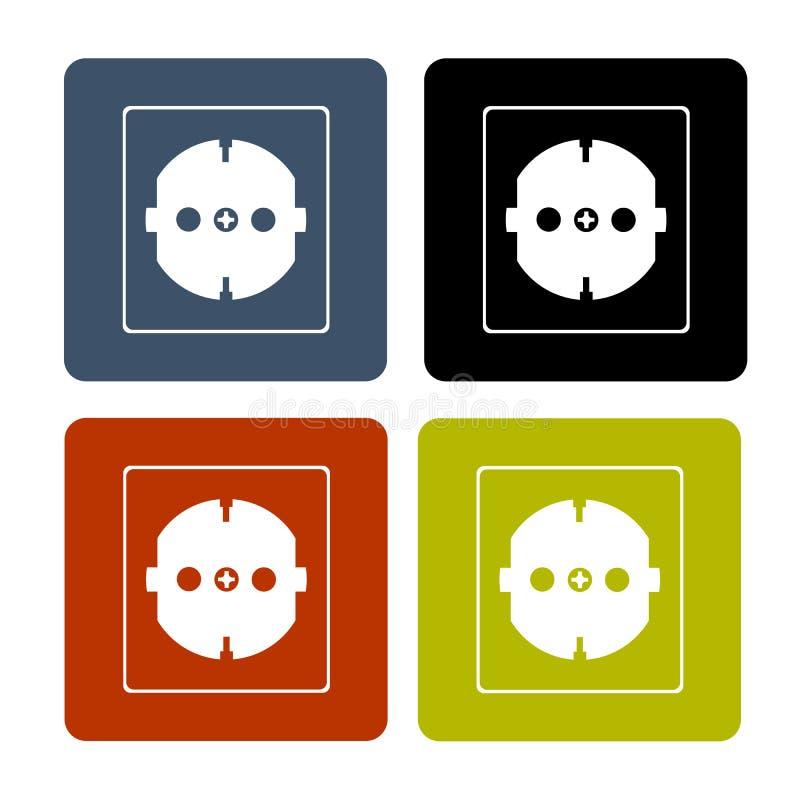 Ajuste das ilustrações da parede da casa dos logotipos o soquete ilustração do vetor