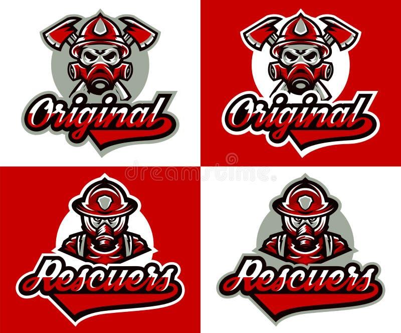 Ajuste das ilustrações do vetor no tema do serviço da proteção contra incêndios Logotipo do bombeiro s, máscara de gás, capacete, ilustração royalty free