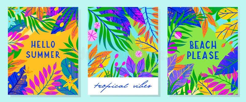 Ajuste das ilustrações do vetor do verão com folhas, as flores e elementos tropicais foto de stock
