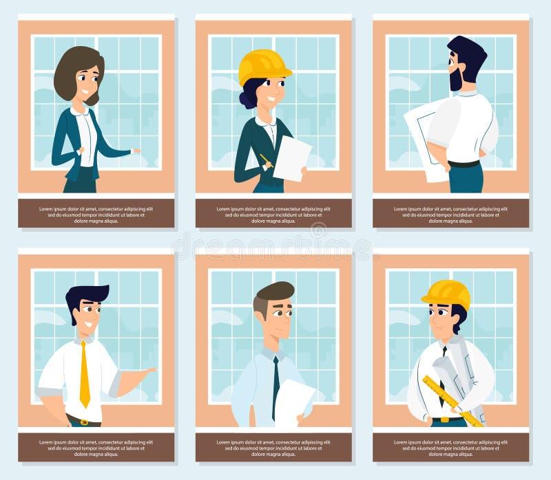 Ajuste das ilustrações dos arquitetos no trabalho ilustração do vetor