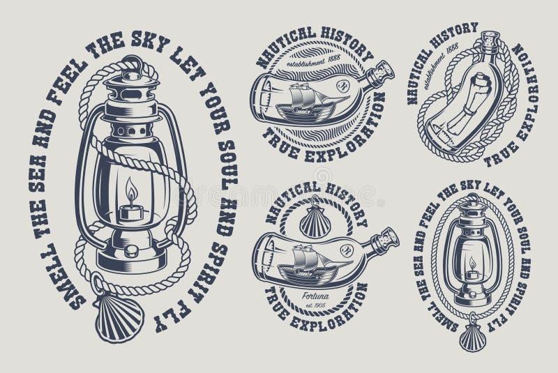 Ajuste das ilustrações marinhas do vintage preto e branco ilustração do vetor
