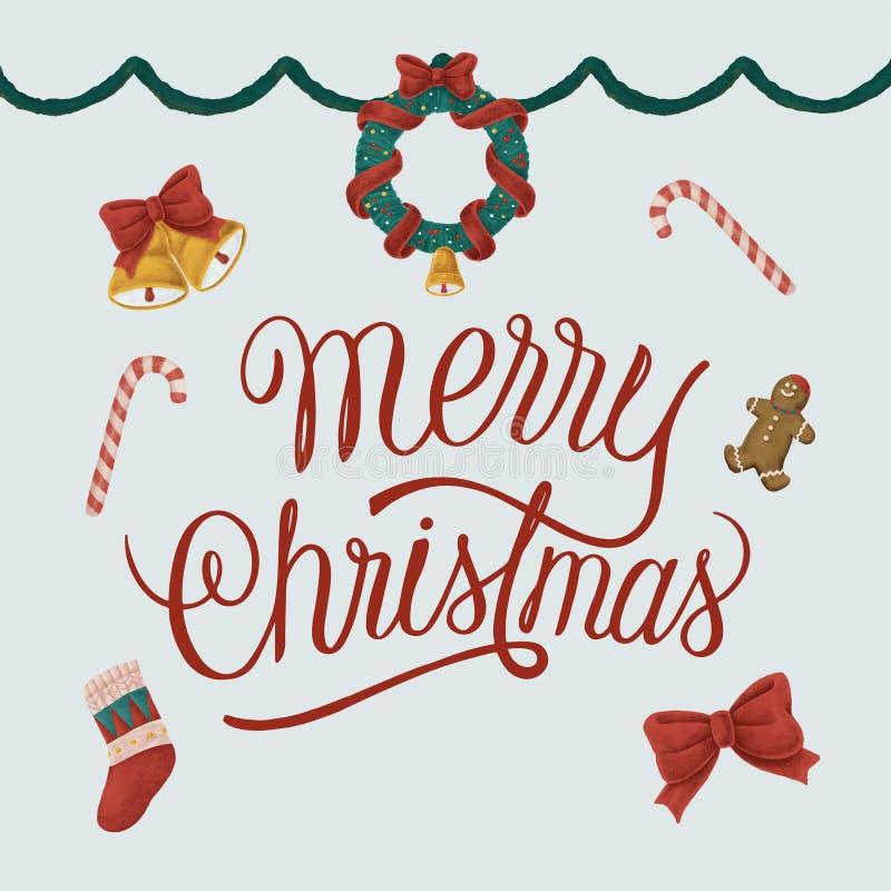 Ajuste das ilustrações tiradas mão do Natal ilustração stock