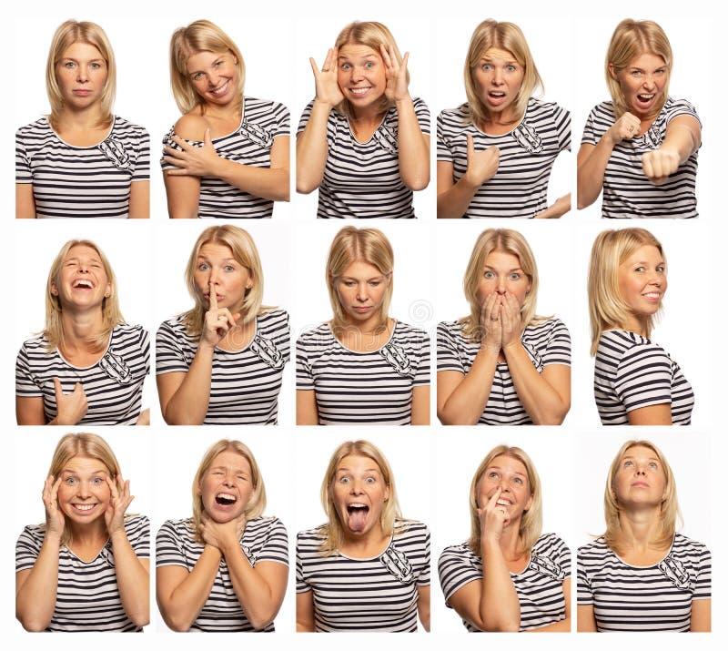 Ajuste das imagens de uma jovem mulher com emoções diferentes, fundo branco, close-up fotografia de stock