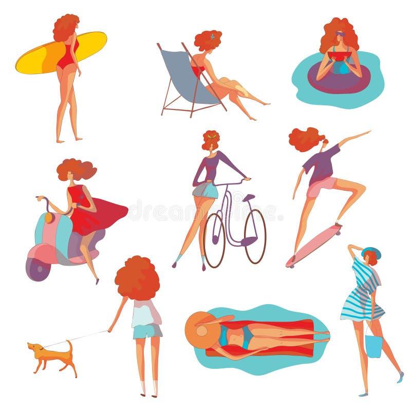 Ajuste das imagens de uma mulher em férias de verão Ilustra??o do vetor no fundo branco ilustração do vetor