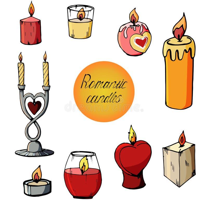 Ajuste das imagens de velas românticas ilustração royalty free