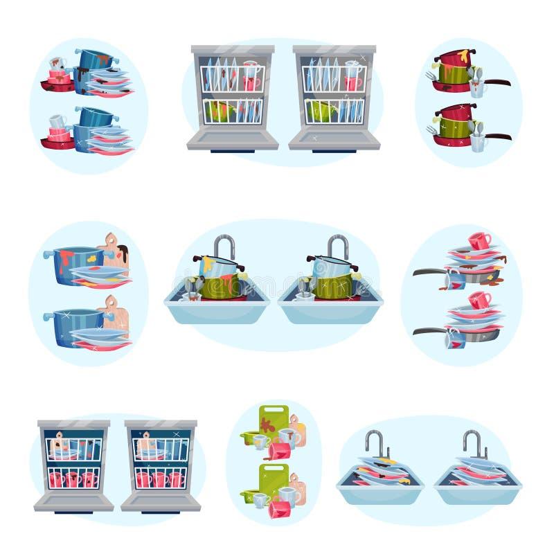 Ajuste das imagens dos pratos antes e depois da lavagem Ilustra??o do vetor no fundo azul ilustração do vetor