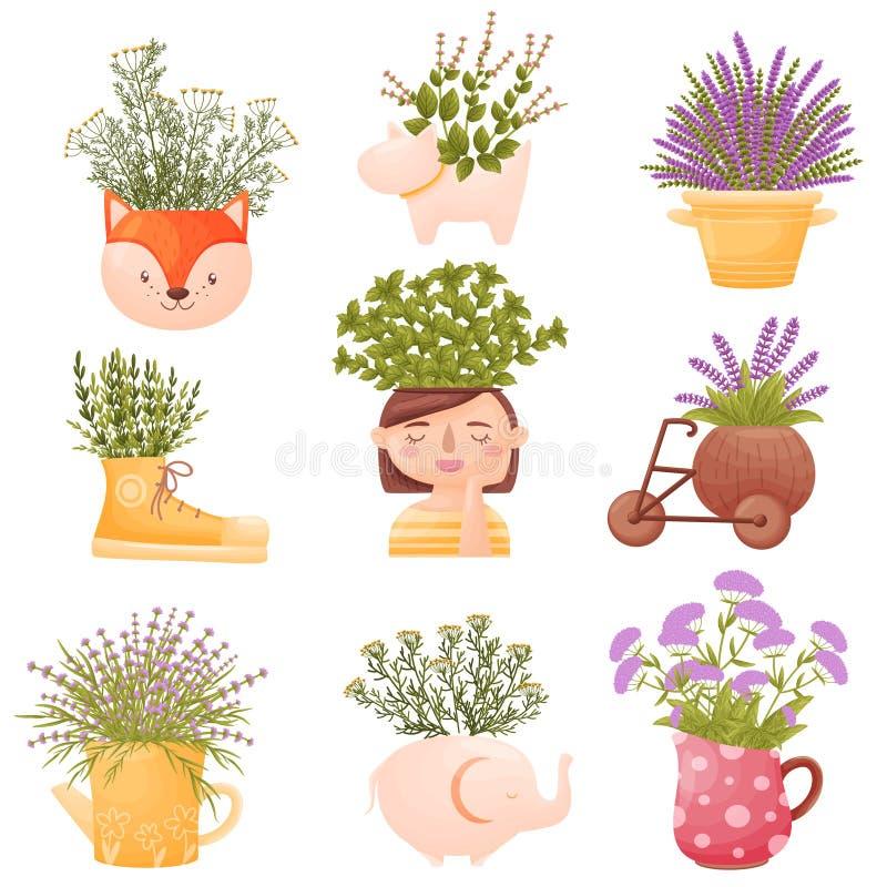 Ajuste das imagens das flores em uns potenciômetros bonitos e em uns vasos Ilustra??o do vetor no fundo branco ilustração stock