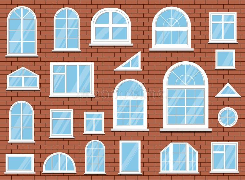 Ajuste das janelas plásticas clássicas brancas isoladas do pvc no fundo da parede de tijolo vermelho ilustração do vetor