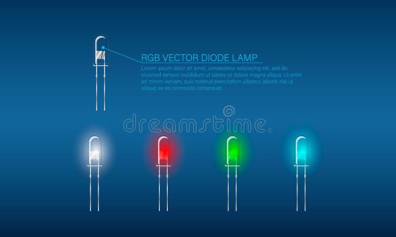 Ajuste das lâmpadas coloridas do diodo Lâmpadas transparentes no fundo azul ilustração do vetor