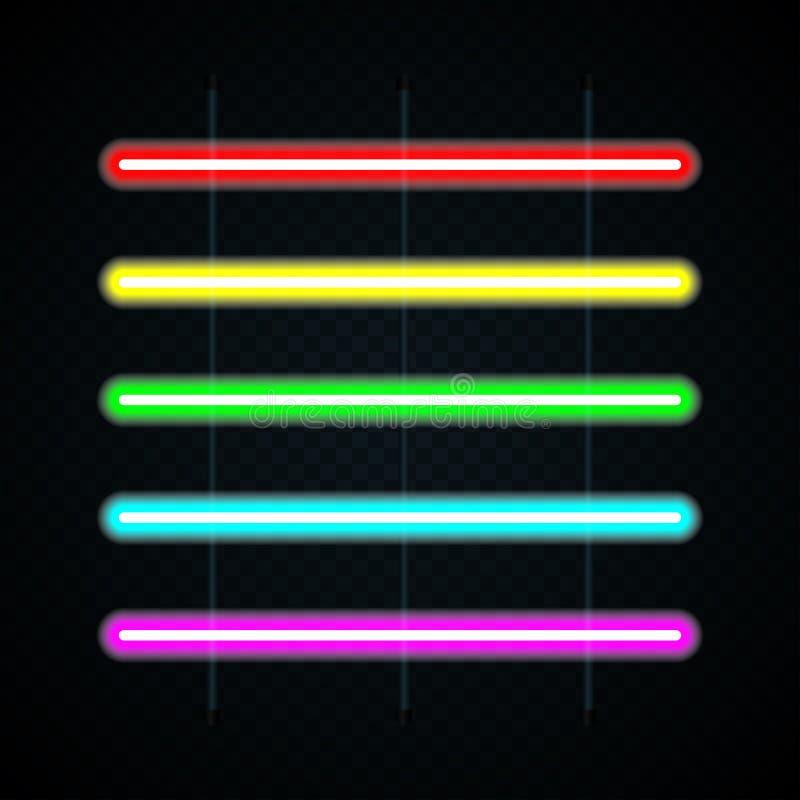 Ajuste das lâmpadas de néon coloridas no fundo transparente Luz do tubo de néon Vetor ilustração royalty free