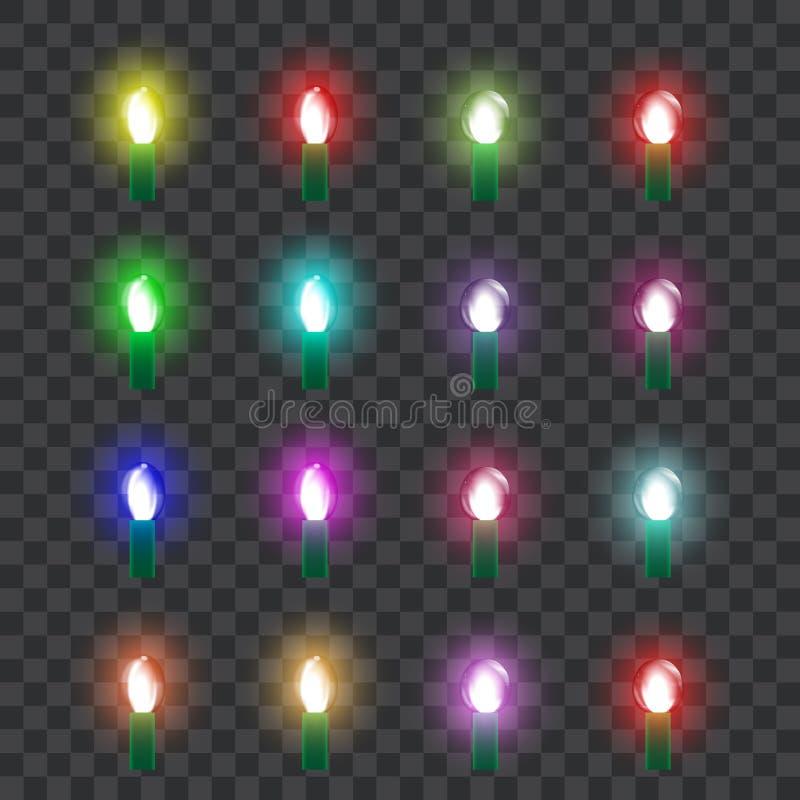 Ajuste das lâmpadas de vidro de néon coloridas no estilo retro Vetor ilustração do vetor