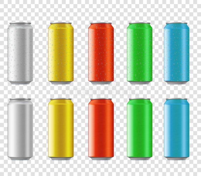 Ajuste das latas coloridos do metal com gotas da água para a bebida ilustração royalty free