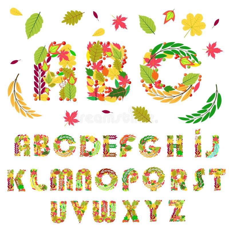 Ajuste das letras florais do alfabeto dos elementos, feito com folhas e bagas ilustração do vetor