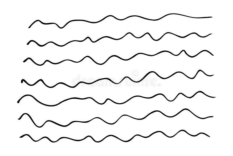 Ajuste das linhas onduladas tiradas mão ilustração royalty free