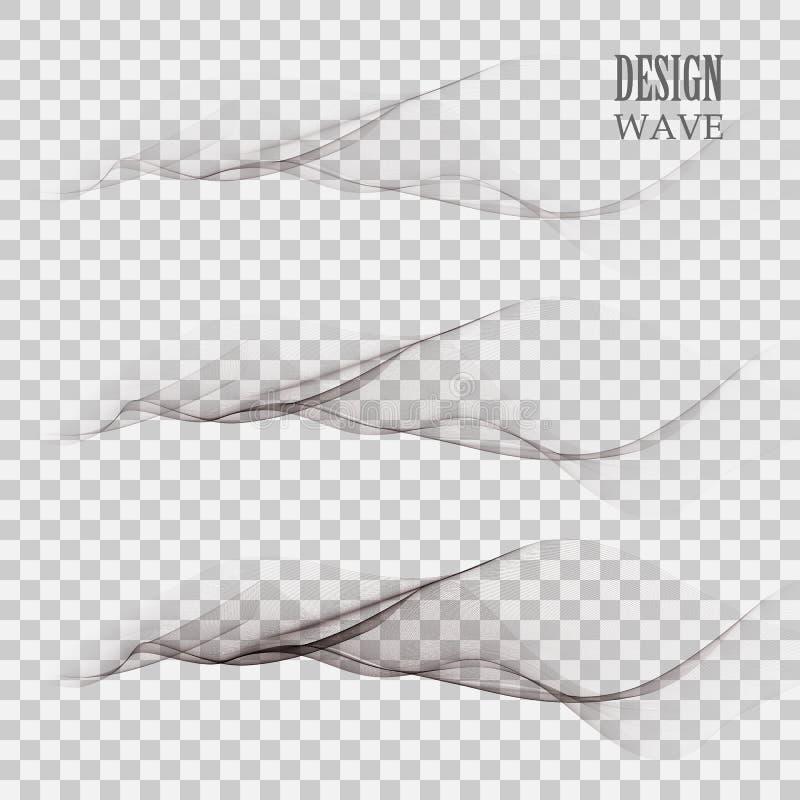 Ajuste das linhas pretas abstratas com as ondas cinzentas com as faixas cinzentas isoladas no fundo branco ilustração do vetor