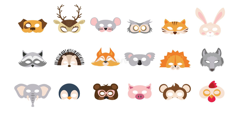 Ajuste das máscaras dos suportes da cabine da foto de animais selvagens e domésticos grande para o partido e o aniversário Ilustr ilustração royalty free