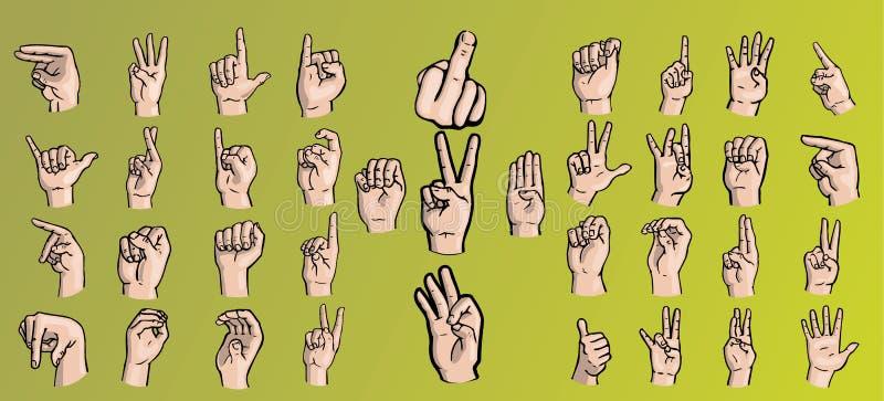 Ajuste das mãos em uma variedade de gestos ilustração do vetor