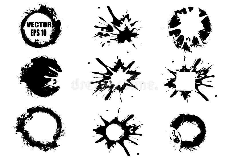 Ajuste das manchas pintados à mão pretas, no fundo branco e a tinta chapinha Vetor e elementos abstratos para o projeto no grunge ilustração do vetor